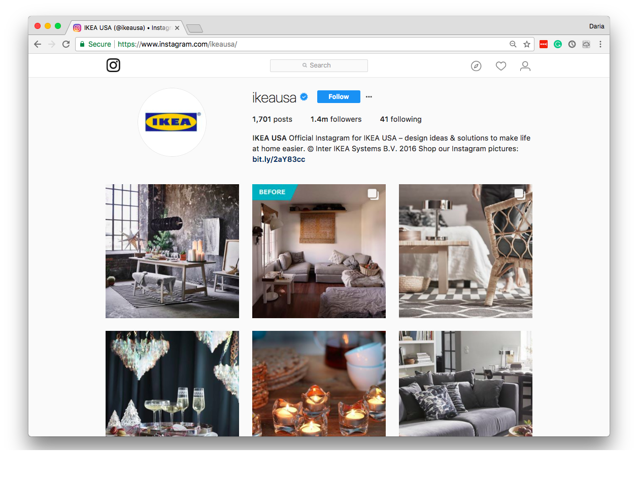 IKEA's Instagram page looks put together and well-scheduled.