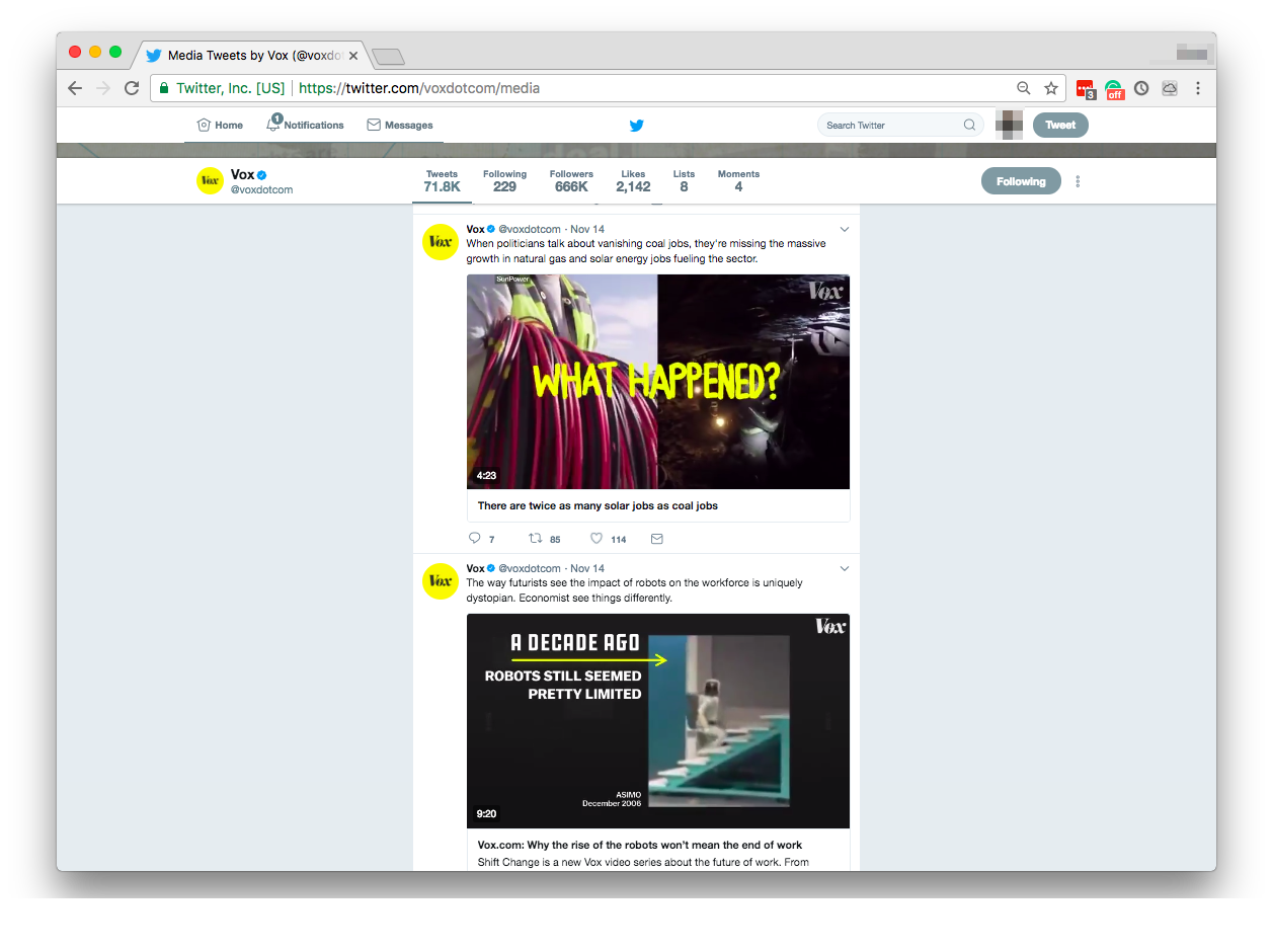 Vox's pictures and videos on Twitter both share the same color schemes, font guidelines, and other recognizable features.