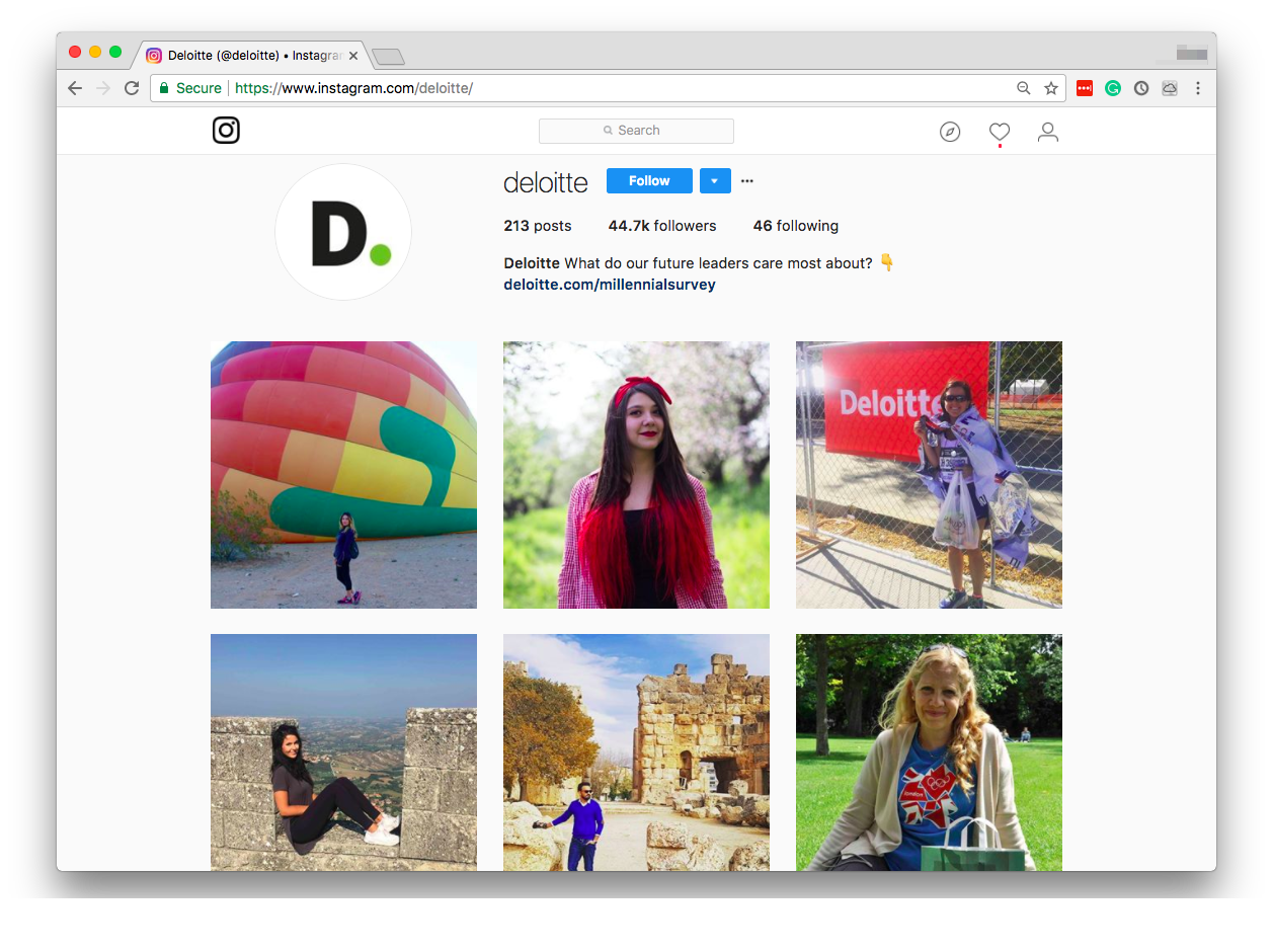 You probably won't think of Deloitte as a company that may have a pretty page on Instagram with large following, but they do, because they made this page appealing for millennials by sharing their stories.