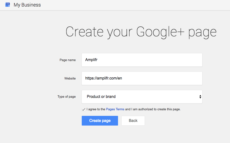 Choose a name for your Google+ Page and add a link